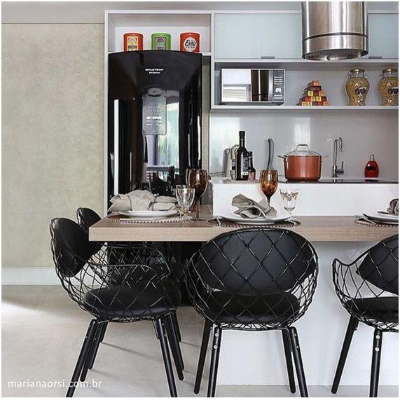 Decoração de cozinha preta e branca