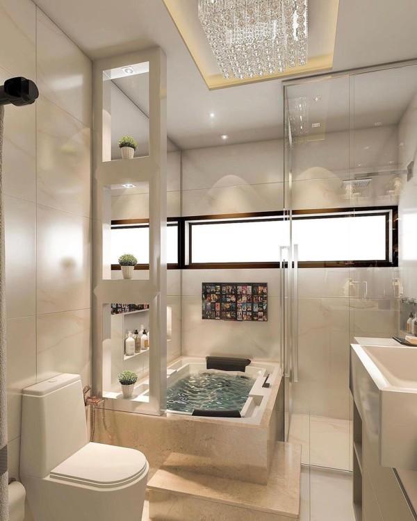 Decoração de banheiro com banheira retangular